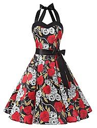 baratos -Mulheres Boho Evasê Vestido - Laço / Franjas / Estampado, Floral / Geométrica Altura dos Joelhos Cereja