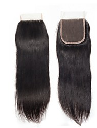 cheap -3 Bundles with Closure Brazilian Hair Straight Human Hair Hair Weft with Closure Human Hair Weaves Gift / Best Quality / Hot Sale Natural Color Human Hair Extensions Women's