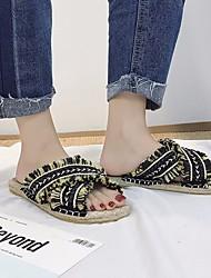 baratos -Mulheres Sapatos Linho Verão Conforto Chinelos e flip-flops Sem Salto para Casual Preto Amarelo Azul