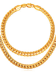 cheap -Men's Gold Jewelry Set 1 Necklace / 1 Bracelet - Fashion Twist Circle Gold Chain Bracelet / Chain Necklace For Daily
