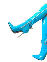 abordables -Femme Chaussures Polyuréthane Hiver Bottes à la Mode Bottes Talon Aiguille Bout pointu Bottes Bleu / Rose / Bleu clair