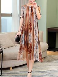 baratos -Mulheres Vintage Evasê Vestido - Renda, Listrado Médio