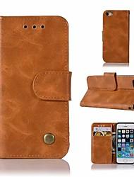 Недорогие -Кейс для Назначение Apple Кейс для iPhone 5 Кошелек / Бумажник для карт / со стендом Чехол Однотонный Твердый Кожа PU для iPhone SE / 5s
