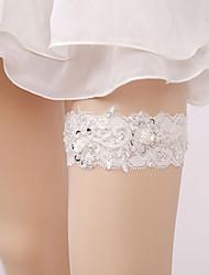 billiga -Spets Spets Bröllopskläder Med Strass / Blomma / Våd Strumpeband Bröllop / Fest / afton