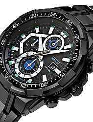 cheap -Men's Quartz Sport Watch Calendar / date / day Casual Watch Stainless Steel Band Luxury Cool Black Silver