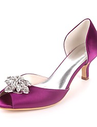 cheap -Women's Shoes Satin Spring & Summer Basic Pump Wedding Shoes Kitten Heel Peep Toe Rhinestone Red / Champagne / Ivory / Party & Evening