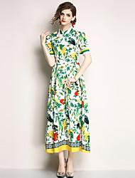 economico -Per donna Per uscire Vintage / sofisticato Taglia piccola Linea A / Swing Vestito - Collage, Fantasia floreale Colletto Medio Vita alta