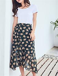 Недорогие -женские миди линии юбки - цветочные