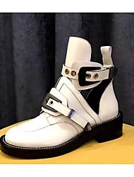 cheap -Women's Shoes Cowhide Spring & Summer Combat Boots Boots Flat Heel Round Toe Booties / Ankle Boots Buckle for Birthday White / Black
