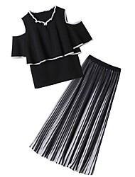 baratos -Mulheres Sofisticado / Moda de Rua Conjunto - Pregueado, Listrado Saia