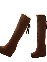 cheap -Women's Shoes Nubuck leather Winter Snow Boots Boots Wedge Heel Pointed Toe Knee High Boots Black / Yellow / Brown / Party & Evening