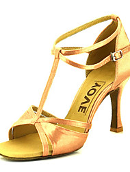 cheap -Women's Latin Shoes / Salsa Shoes Satin Sandal / Heel Buckle / Ribbon Tie Customized Heel Customizable Dance Shoes Bronze / Almond / Nude / Leather / Professional