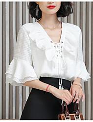 cheap -Women's Vintage Blouse - Floral / Camouflage Black & White, Tassel