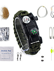 cheap -Paracord Bracelet - Compass, Fire Starter, Whistle Waterproof, LED, Tactical for Camping / Hiking / Fishing / Camping / Hiking / Caving - Nylon Fiber / Metalic 14 pcs
