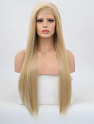 billige -Syntetisk Lace Front Parykker Lige Gyldent Frisure i lag Syntetisk hår Natural Hairline Gyldent Paryk Dame Lang Blonde Front Lys Gylden / Ja
