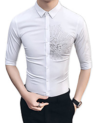 cheap -Men's Party / Daily Cotton / Rayon Slim Shirt - Floral / Please choose one size larger according to your normal size.