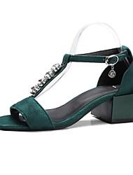 Недорогие -Жен. Обувь Дерматин Лето С Т-образной перепонкой Сандалии Для прогулок Блочная пятка Открытый мыс Черный / Желтый / Зеленый