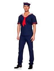 baratos -Mariner Ocasiões Especiais Homens Ocasiões Especiais Tinta Azul Vintage Cosplay Linho / Algodão / Poliéster Manga Curta Camiseta
