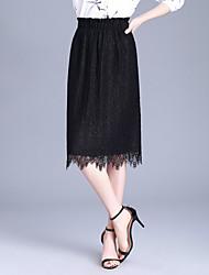 preiswerte -Damen Retro Bodycon Röcke - Solide Schwarz & Weiß