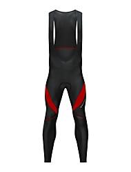 cheap -WOSAWE Men's Cycling Bib Tights Bike Bib Tights Thermal / Warm, Fleece Lining, Reflective Strips Patchwork Spandex Black / White / Black / Red Bike Wear