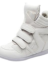 Недорогие -Жен. Обувь Кожа Весна Удобная обувь / Модная обувь Кеды Туфли на танкетке Белый / Черный