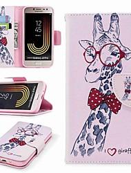 Недорогие -Кейс для Назначение SSamsung Galaxy J7 (2017) / J2 PRO 2018 Бумажник для карт / Кошелек / со стендом Чехол Животное Твердый Кожа PU для