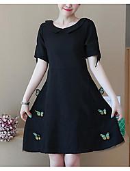 povoljno -Žene Vintage Puff rukav Bodycon Haljina - Drapirano, Jednobojni Do koljena Crno-bijela