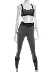 abordables -Femme Soutien-gorge de Sport avec Pantalons de Course Des sports Spandex Ensemble de Vêtements Sans Manches Tenues de Sport Avion-école,