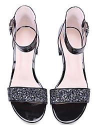 preiswerte -Damen Schuhe Leder Sommer Komfort / Pumps Sandalen Blockabsatz Schwarz / Silber
