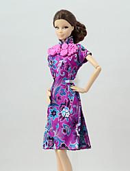 お買い得  -ドレス ドレス ために バービー人形 アメジスト リネン / コットンのブレンド / リネン / ポリエステル混 ドレス ために 女の子の 人形玩具