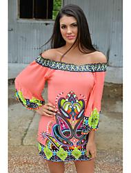cheap -Women's Going out / Holiday Boho Loose Jalabiya Dress - Color Block / Plaid Off Shoulder