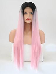 Недорогие -Синтетические кружевные передние парики Прямой Розовый Стрижка каскад Искусственные волосы Жаропрочная Розовый Парик Жен. Длинные Лента спереди / Да
