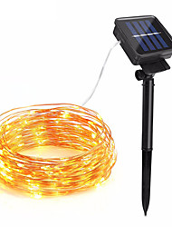 cheap -10m String Lights 100 LEDs 1Set Mounting Bracket Warm White / RGB / White Solar / Waterproof / Decorative Solar Powered 1set