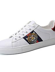 abordables -Hombre PU Primavera & Otoño Confort / Tejido Oriental Zapatillas de deporte Blanco / Negro