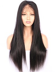 cheap -Remy Human Hair Lace Front Wig Brazilian Hair Straight Wig 130% With Baby Hair / Natural Hairline / African American Wig Women's Short / Long / Mid Length Human Hair Lace Wig
