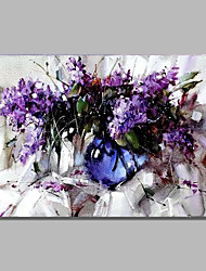 cheap -STYLEDECOR Modern Hand Painted Abstract Purple Flowers Oil Painting on Canvas for Wall Art