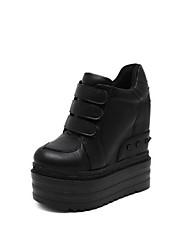 Недорогие -Жен. Обувь Полиуретан Осень Ботильоны Ботинки Туфли на танкетке Круглый носок Ботинки для на открытом воздухе Черный