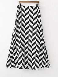 preiswerte -Damen Grundlegend A-Linie Röcke - Geometrisch Schwarz & Weiß