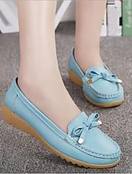 povoljno -Žene Cipele Koža Proljeće ljeto Udobne cipele Ravne cipele Wedge Heel za Vanjski Crn / žuta / Plava