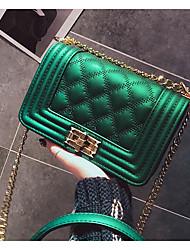 baratos -Mulheres Bolsas PU Bolsa de Ombro Botões Verde / Preto / Vermelho
