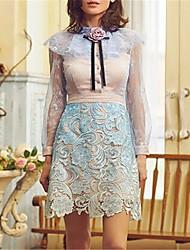 お買い得  -女性用 シース ドレス ソリッド 膝上