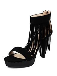 Недорогие -женская обувь из кожзаменителя весна& лето d'orsay& босоножки на шпильке из двух частей с открытым носком кисточка черный / фиолетовый / красный