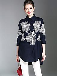 Недорогие -Жен. Вышивка Рубашка Уличный стиль Цветочный принт