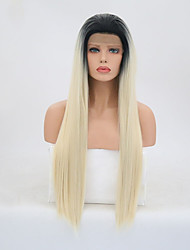 cheap -Synthetic Lace Front Wig Straight Golden Layered Haircut Synthetic Hair Natural Hairline Golden Wig Women's Long Lace Front / Yes
