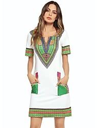 cheap -Dreamy Land Women's Basic Sheath Dress - Geometric High Waist