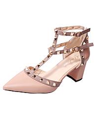 Недорогие -Жен. Обувь Синтетика / Полиуретан Лето Удобная обувь Обувь на каблуках Для прогулок На толстом каблуке Заостренный носок Заклепки Черный