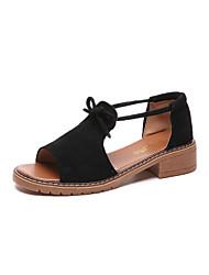 baratos -Mulheres Sapatos Camurça Verão Conforto Sandálias Caminhada Salto de bloco Ponta Redonda Preto / Bege / Rosa claro