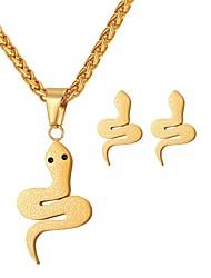 Недорогие -Комплект ювелирных изделий Змея Дамы, Мода Включают Серьги-кольца Ожерелья с подвесками Золотой / Серебряный Назначение Повседневные