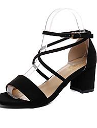 preiswerte -Damen Schuhe Stoff Sommer Komfort Sandalen Walking Block Ferse Runde Zehe Schwarz / Beige / Gelb