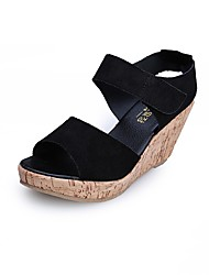 cheap -Women's Shoes Leather Summer Comfort Sandals Wedge Heel Purple / Yellow / Almond